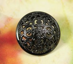 Flowery Engraving Metal Buttons , Shiny Gunmetal Color , Domed , Openwork , Shank , 1 inch , 6 pcs  on Etsy, $6.00