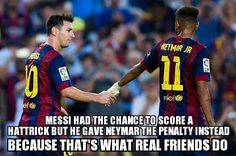 Soccer is all about respect. I'd do this for a teammate if i was in the same position. Good Soccer Players, Soccer Fans, Football Soccer, Soccer Stuff, Messi And Neymar, Messi Soccer, Neymar Pic, Barcelona Team, Leonel Messi
