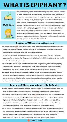 Epiphany: Definition and Great Examples of Epiphany in Spoken Language and Literature English Tips, Learn English, What Is Epiphany, Theory Of Relativity, Common Phrases, Greek Language, Language And Literature, Test Prep, Vocabulary Words