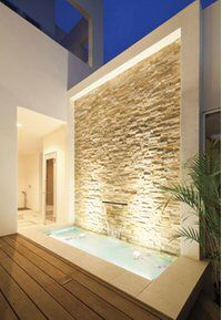 love the idea of a wall like this with the lighting and the inset stone facade a… – Indoor water fountains Home Room Design, House Architecture Design, Water Feature Wall, Backyard Landscaping Designs, Stone Facade, Water Walls