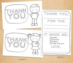 "Printable ""Thank You"" Card for Kids // Fill in and color"