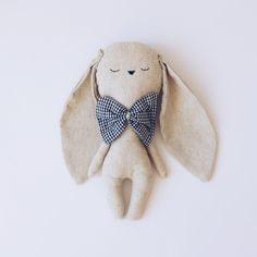 Little bunny handmade cuddly toy with blue bow tie by lelelerele