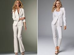 ON THE RIGHT> White tailored suits for the high-fashion bride from Victoria's Secret   OneWed.com