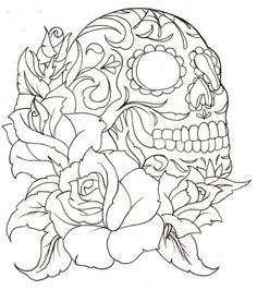 Colour it, sew it, trace it, etc. flower with skull