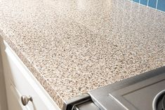 You can see the seam in the contact paper kitchen counter when the sun hits it the right way. Cheap Countertops, Laminate Countertops, Kitchen Countertops, Faux Granite Countertops, Kitchen Cupboards, Kitchen Backsplash, Countertop Covers, Countertop Makeover, Contact Paper Countertop