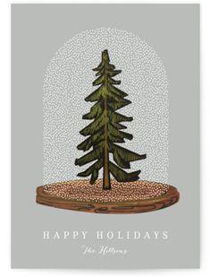 Snow Globe Tree Holiday Non-Photo Cards Holiday Photo Cards, Christmas Greeting Cards, Christmas Greetings, Corporate Holiday Cards, Business Holiday Cards, Illustration Noel, Christmas Illustration, Christmas Stationery, Christmas Graphics