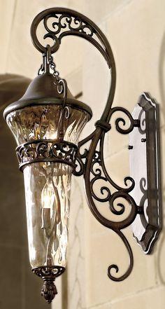 Exterior Lighting, Outdoor Lighting, Lighting Ideas, Porch Lighting, Outdoor Lamps, Unique Lighting, Tuscan Decorating, Tuscan Style, Tuscan Design