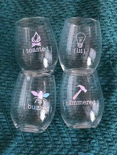 Toasted Hammered Buzzed Lit Piece Wine Glass Set - Toasted Hammered Buzzed Lit Piece Wine Glass Set I Would Do Glass Etching On Cups Etched Wine Glasses Funny Wine Glasses Diy Wine Glasses Personalized Wine Glasses Painted Wine Glasses Alcoh Wine Glass Sayings, Wine Glass Crafts, Wine Glass Set, Etched Glass, Diy Glass Etching, Glass Etching Stencils, Funny Wine Sayings, Glass Etching Designs, Wood Etching