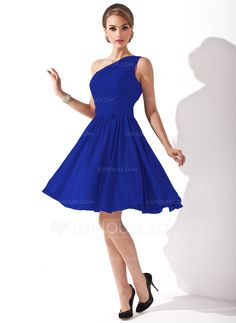 A-Line/Princess One-Shoulder Knee-Length Ruffle Bow(s) Zipper Up Regular Straps Sleeveless No Grape Spring Summer Fall General Plus Chiffon Bridesmaid Dress