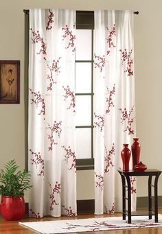Asian Bedroom Cherry Blossom Curtain Panel Set Collections Etc Cherry Blossom Bedroom, Cherry Blossom Decor, Cherry Blossoms, Asian Room, Bedroom Drapes, Bedroom Couch, Bedroom Windows, Master Bedroom, Home Decor Catalogs