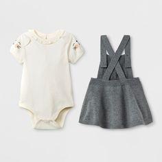 b4d7e33bc0054 Baby Girls  Short Sleeve Bodysuit with Sweater Skirtall - Cat   Jack™  Cream Gray