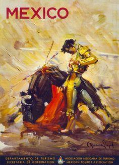 Mexico Bullfighting Scene. 1944 vintage travel poster. #vintage #mexico #travel #poster