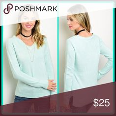 Mint V-Neck Sweater Super Soft! 100% Acrylic Tops Sweatshirts & Hoodies