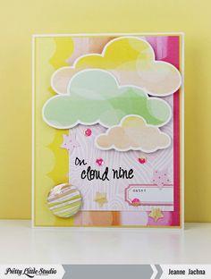 Jeanne Jachna: A Kept Life – Cloud 9 - Pretty Little Studio Feature: Clouds - 2/5/15.  (Pretty Little Studio: Watercolor Rain Cloud die-cut image, Neapolitan Strawberry Crème Journaling Cards. Little Inker Designs Stamp: Rainbows & Clouds).