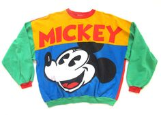 SALE VINTAGE UNISEX mens womans mickey mouse 80s sweater 90s disneyland mickey and friends mickey & co boho swag trending sloppy joe jumper