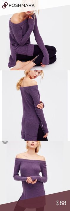 Free People Thermal Free People Kate Thermal NWOT in purple in small. I jus love the look and feel of this thermal but I desperately need a medium. 😩😩😈 Free People Tops Tees - Long Sleeve