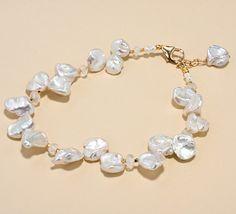 Keshi Pearl Moonstone Bracelet Beach Wedding Jewelry Beachy