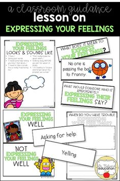 A classroom lesson on expressing your feelings -- the big emotions kids often have trouble dealing with. I like this idea for group Feelings Activities, Counseling Activities, Group Activities, How To Express Feelings, Feelings And Emotions, Expressing Feelings, Elementary School Counselor, Elementary Schools