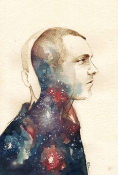 My love, my personal astronaut…    Personal portrait.    pencil+watercolor    elia, illustration(R) original illustration.