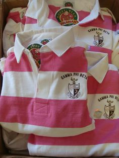 Alpha created these smart pink and white rugby shirts with the crest and a number 74 on the back Gamma Phi Beta, Tri Delta, Alpha Sigma Alpha, Alpha Chi Omega, Phi Mu, Sigma Kappa, Kappa Delta, Theta, Custom Greek Apparel