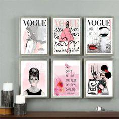 Vogue Posters - Chanel - Set Of 6 Art Prints - Fashion Wall Art - Audrey Hepburn - Vogue Covers - Chanel Prints - Vogue Magazine - Wall Art Black And White Posters, Black And White Wall Art, Bedroom Themes, Bedroom Decor, Paris Bedroom, Fashionista Bedroom, Magazine Wall Art, Affordable Wall Art, Fashion Themes