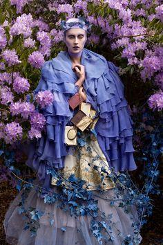 ❀ Flower Maiden Fantasy ❀ women & flowers in art fashion photography - 'The Blue Saint' (2010) Wonderland Series, Kirsty Mitchell Photography