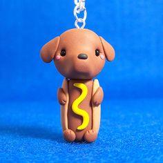 Hot Dog Dachshund Chibi Necklace by Jenn and Tony Bot, via Flickr