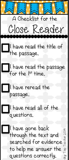 Close Reading Checklist