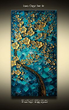 Landscape Blossom Tree Oil Acrylic Painting Modern Textured Palette Knife by Lana Guise