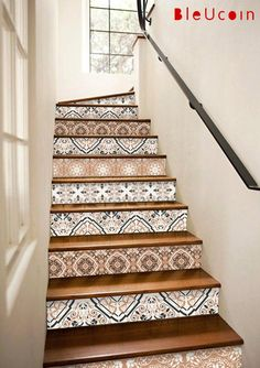 15 stairs decal: 2017 Interior trend -Earthy tones- 10 strips with length Treppe Bern StairRiser Peel Stick Vinyl Decal Self Adhesive Waterproof Easy to Trim Repositionable Removable DIY Home Decor-Pack of 5 strips Tile Stairs, Flooring For Stairs, Basement Stairs, Tiled Staircase, Wood Stairs, Wood Walls, Old Wallpaper, Textured Wallpaper, Wallpaper Ideas