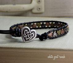 Celtic Heart Bracelet, Black Leather Bracelet, Celtic Knot, Irish Bracelet