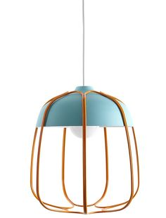 Suspension Papillon by Forestier. Three tiers of lacquered steel mesh drop down to weld the Suspension Papillon pendant light by Elise Fouin. Recalling a suspended butterfly chrysalis in the act of unfolding, it's available in black, blue-grey, white, and lime green/blue-grey/white. Source: interiordesign.net