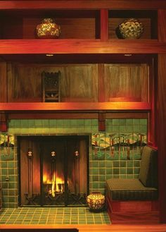 Tiled mantel surrounds were a quintessential Arts & Crafts statement.