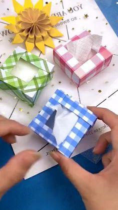 Diy Gifts Paper, Paper Crafts Origami, Diy Crafts Hacks, Diy Crafts For Gifts, Paper Crafts For Kids, Diy Paper, Fun Crafts, Instruções Origami, Origami Gift Bag