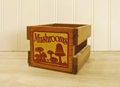 Vintage Crate Mushroom Crate Small Crate Small Wooden Crate Mini Crate Mushroom Decor Small Wood Box Wood Crate Mushroom Kitchen 1970s Decor by HipCatRetroVintage on Etsy