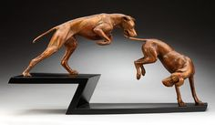 Louise Peterson - Playmates, one third life-sized bronze with aluminum base Dog Sculpture, Animal Sculptures, Greyhound Art, Dog Paws, Beautiful Dogs, Cool Artwork, Wood Art, Greyhounds, Vizsla