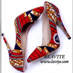 SAPPHIRA PUMPS  Red & blue Ankara African print fabric by Laviye