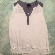Cynthia Rowley Tank! Soft, flowy tank from Cynthia Rowley! White, with blue/denim looking too detail with silver buttons! Size large! Worn but in perfect condition! Cynthia Rowley Tops Tank Tops