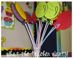 Not that our kids really need all this sugar, but I bet this would be a huge hit for the birthday boy or girl!  Those giant pixie sticks are cheap and last forever.  The balloon idea is so cute!