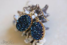 NonnaSoul Oval earrings with blue druzy quartz - Earrings - Jewelry