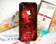 Red Galaxy Nebula Apple Logo - design for iPhone 5 Black case | DreamCase - Accessories on ArtFire