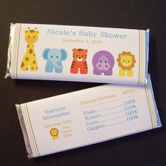 Items similar to Personalized Baby Shower Candy Bar Wrappers, Zoo Animals, Set of 60 on Etsy Baby Shower Crafts, Cute Baby Shower Ideas, Unique Baby Shower, Baby Ideas, Baby Candy, Baby Shower Candy, Baby Boy Shower, Shower Party, Mesa Dulces Baby Shower