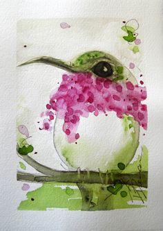 Calliope Hummingbird Watercolor Painting. 30.00, via Etsy.