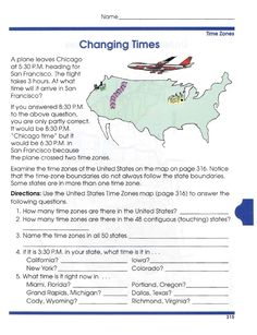 reading comprehension united states time zone worksheets for kids printable maps. Black Bedroom Furniture Sets. Home Design Ideas