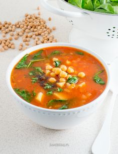 Chickpeas, soup with tomatoes and spinach