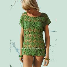 Crochet Pattern for a motif lace shell top PDF 661 by wonkyzebra, $3.00