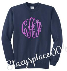 monogrammed sweater, mongrammed sweat shirt, monogrammed shirt, fleece sweater, navy sweater
