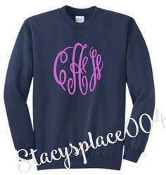 monogrammed sweater, mongrammed sweat shirt, monogrammed shirt, fleece sweater, navy sweater