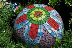 bowling ball mosaic, now I have a purpose for my 22 year old bowling ball!