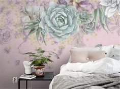 Succulent Art Wallpaper Dark Floral Wall Mural by DreamyWall